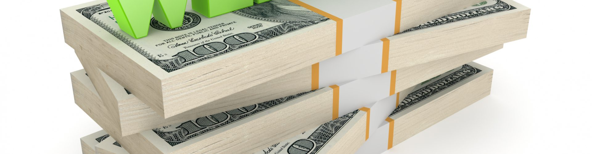 Word WEBINAR on stack of dollars.Isolated on white.3d rendered.