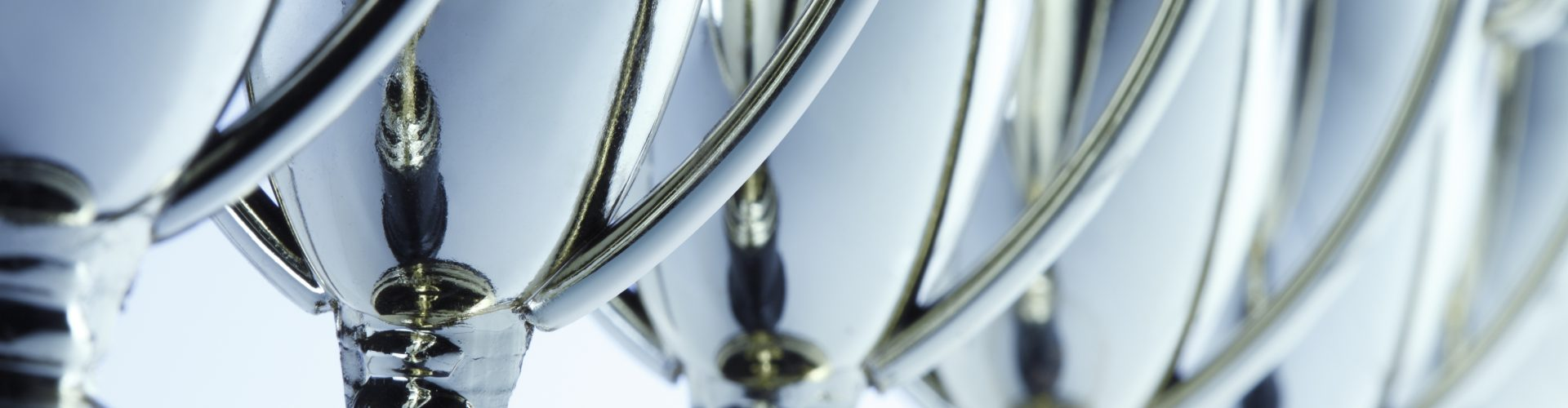 Close-up of a long row of trophies. Shot with shallow depth of field.