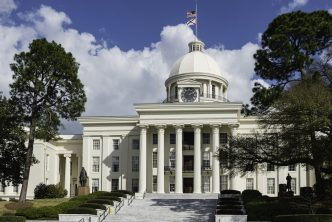 The beautiful state capitol building of the state of Alabama, located in Montgomery.