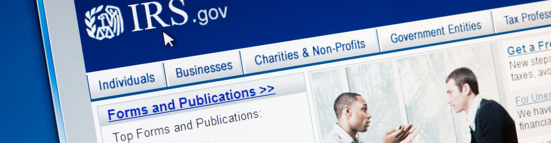 Castleford, England - September 9, 2011: Close up of Internal Revenue Service (IRS) main page on the web browser. IRS is a United States government agency tasked with collecting yearly state and income tax from working residents and businesses.