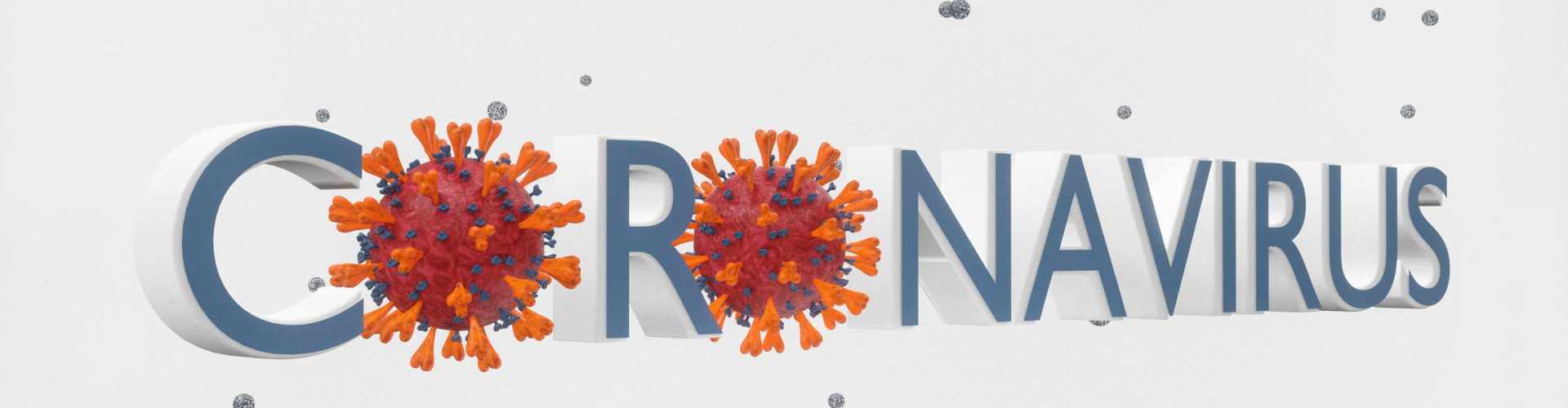 Abstract coronavirus banner - 3d rendered image of virus, bacteria, pathogen. Retro style. Particle effect. Abstract biology and technology background. Nanotechnology concept. Banner Sign view with information text. Concept - MERS-CoV, SARS-CoV, ТОРС, 2019-nCoV, Wuhan Coronavirus.