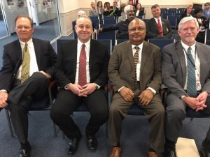 At the confirmation are: Steve Nix, president and CEO, Alatrust Credit Union; Shane Nobley, president and CEO, Family Security Credit Union; Ralph Altice, vice chairman, Board of Directors, New Horizons Credit Union; and Greg McClellan, administrator, Alabama Credit Union Administration.