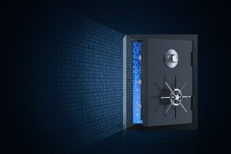 Online security concept with 3d rendering vault door open and binary code