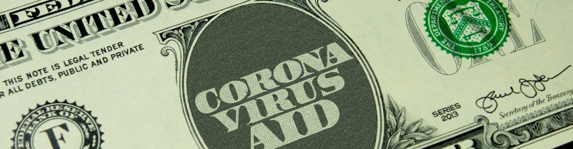 Dollar Geldschein und Coronavirus Hilfspaket für die Wirtschaft in Amerika