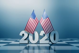 American Flag Pair and 2020 on A Chess Board