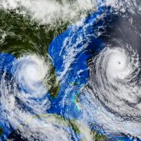 Hurricane approaching the US coast .Elements of this image are furnished by Nasa.3d illustrat